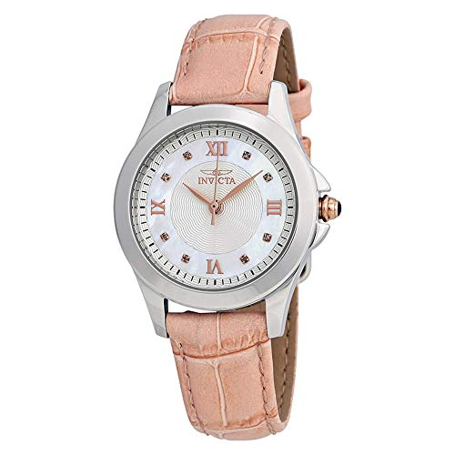 (Invicta Women's 12544 Analog Display Angel Diamond-Accented Pink Leather Watch with Interchangeable Straps)