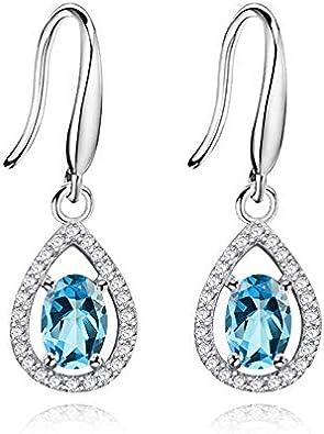 Uloveido 925 plata esterlina ovalada piedras preciosas naturales lágrima gancho pendientes piedra de nacimiento para mujer FR027