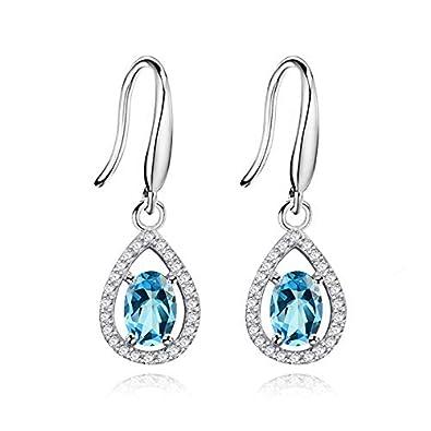 dd712a8ba45 Uloveido Women 925 Sterling Silver Real Oval Blue Topaz Teardrop Dangle  Earrings Wedding December Birthstone Waterdrop