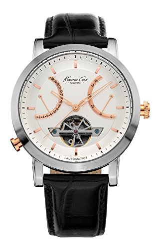 Kenneth Cole New York Men's KC8014 Automatic Round White Dial Rose Gold Detail Strap Watch (Dial Polished White)