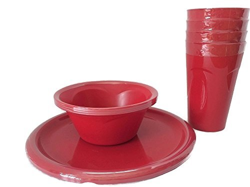 Everyday Dinnerware - Reusable Plastic Plate Set - 4 Cups, 4 Bowls and 4...