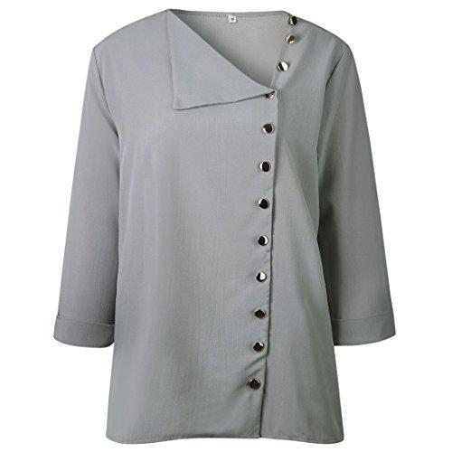 moichien Ol Gris Mujer Blusa larga Manga Blusa Blusa con Ai Estilo botones Tops 6SdwgnAq