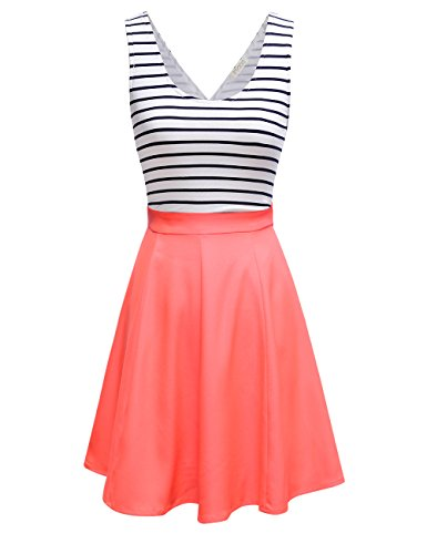 FSOOG Women's Cross Back Sleevless Cocktail Party Striped Casual Tank Mini Dress XL (Sexy Coral)