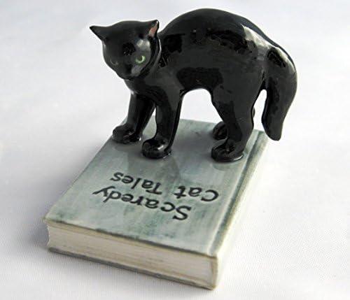 Persian Cat Ceramic Figurine Kitten Animal Miniature Hand Craft High Detail Cute