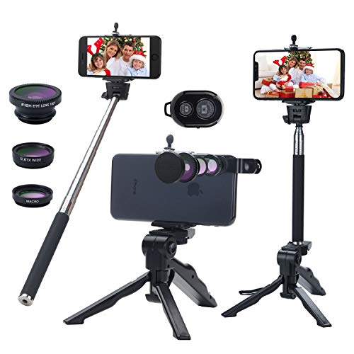 8 in1 Phone Camera Lens Kit, Camera Phone Lens with Tripod, Fish Eye Lens & Wide Angle Lens & Macro Lens/Selfie Stick/Wireless Bluetooth Remote/Mini Tripod for iPhone/Samsung/Android Phone