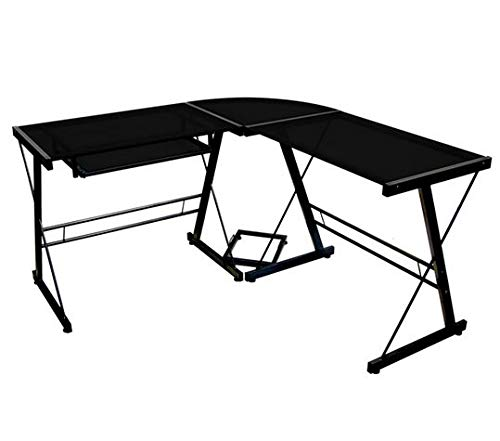 L Shaped Computer Desk - Black Glass Black Metal Frame with Keyboard Tray and CPU Stand- Perfect Complement to Your Computer and Your Space