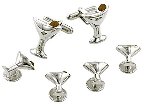 Martini Glasses and Olive Silver Plated Tuxedo Studs and Cufflinks Set