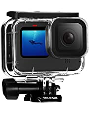 TELESIN Waterproof Case for GoPro Hero 10 Hero 9 Black, Underwater Housing Shell Cage Supports 45M/148FT Deep Diving Scuba Snorkeling with Quick Release Bracket Screw Accessories