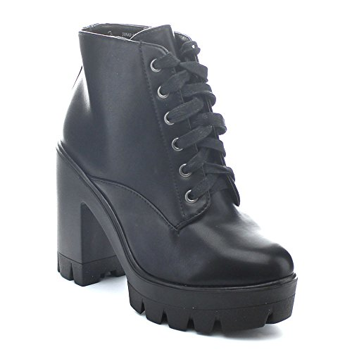 Sole Heel Platform Lace BAMBOO 6 Bootie 5 Up CRP Chunky Women Jonas Lug Black 02 Ankle Combat qAg8R