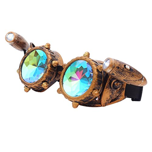 Buyeverything Kaleidoscope Steampunk Rave Glasses Goggles Rainbow Crystal Glass EDM Sunglasses Diffracted Lens for Halloween Christmas Festival Party Supply for women men for $<!--$12.99-->