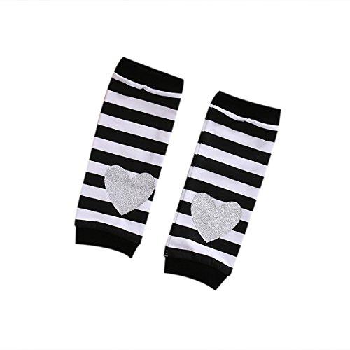 Baby Infant Girl Soft Leggings Warmer Leg Warmers Knee Long Socks (6-12M, Silver Heart)