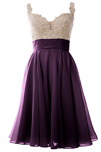 Plum Lace Wedding Party MACloth Formal Short Dress Chiffon Straps Prom Gown Women wx0PqX