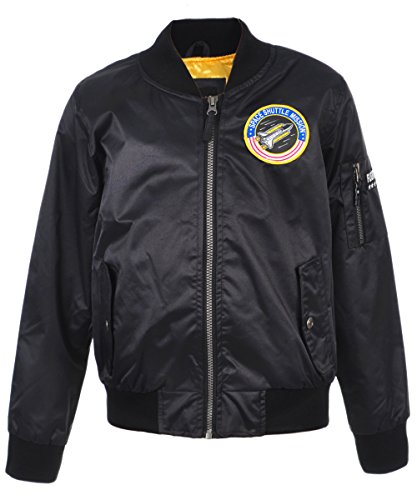 iXtreme Boys Poly Twill Flight Midweight Bomber Jacket with Patches, Black, 10/12 (Twill Black Jacket Kids)