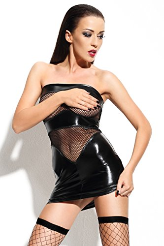 Minikleid Wetlook Transparentem T Erotisches Netzstoff Schwarzes mit Schwarz String Kleid Dessous mit 6qdwxU5t4