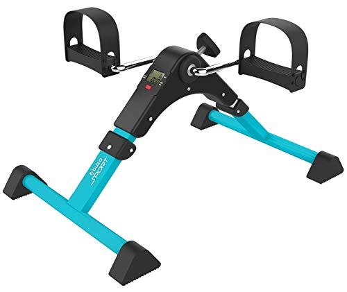 Aduro Sport Foldable Pedal Exerciser, Stationary Under Desk Exercise Equipment for Arm/Leg/Foot Peddler Exercise (Teal/Black) (Sports Equipment)