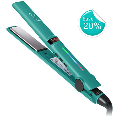 Entil Hair Straightener Flat Iron with 1 Inch Ionic Ceramic Titanium Plates Upgraded Professional Salon Tool Adjustable Temperature Fast Heating Up ()