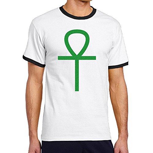 Men's Cool Ankh Symbol Of Life Contrast Ringer T-Shirt L -