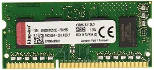 Kingston Technology ValueRAM 2GB 1600MHz DDR3L Non-ECC CL11 SODIMM SR X16 1.35V Notebook Memory KVR16LS11S6/2 ()