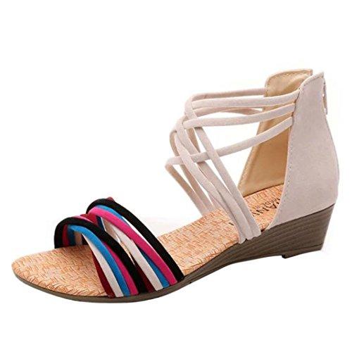 Euone Women Summer Bohemia Slippers Flip Flops Flat Sandals Beach Thong Shoes Beige RmmmEVoOiG