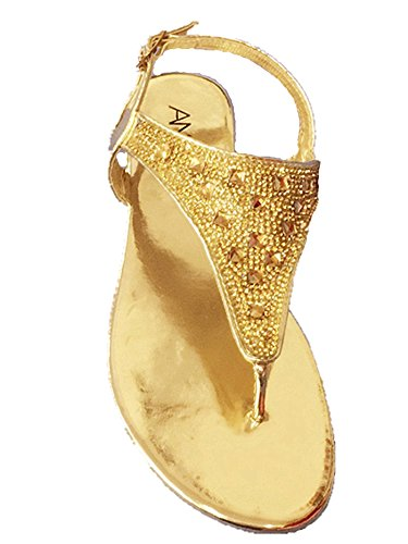 Forever Link Award-22 Mujeres Low Wedge Diamante Strappy Gladiador Summer Rhinestone Glittering Cut-gold-15