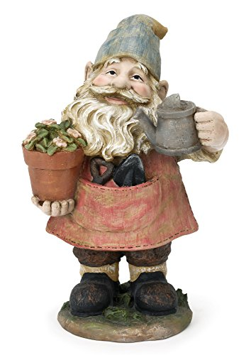 Happy Gnome with Watering Can 13 Inch Resin Decorative Indoor Outdoor Garden Statue Figurine