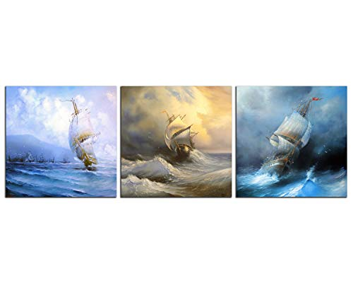 NAN Wind 3 Piece Landscape Sailing Wall Art Sailboat Ocean Pictures Boat Wall Art Painting Stretched and Framed Ready to Hang for Home Living Room Bedroom