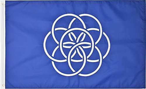 Green Grove Products New Earth Flag Proposed 3' x 5' Ft 210D Nylon Premium Outdoor Embroidered Flag -