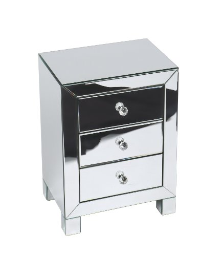 AVE SIX Reflections 3 Drawer Accent Tabl - Mirrored Bedside Table Shopping Results