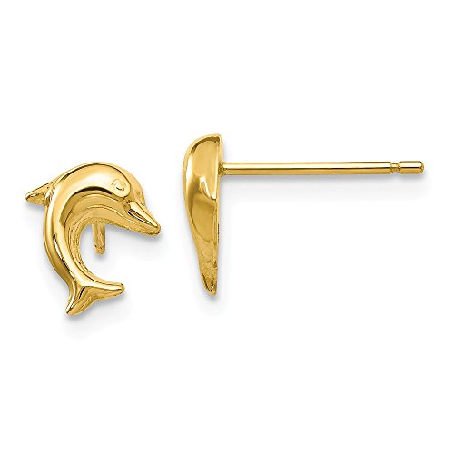 14K Yellow Gold Small Dolphin Post Earrings - (0.35 in x 0.31 in)