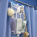 Hanging Shower Organizer for Curtain Rods with Mesh Dispenser Pockets