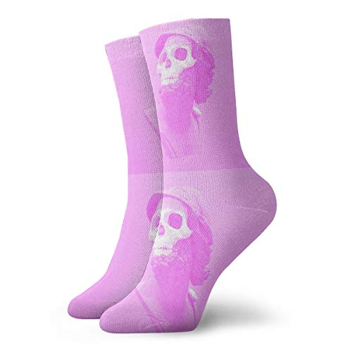 (Pink_skeleton_skull Mens Performance Cushioned Athletic Ankle Socks No Show Funny Socks Low Cut For Women)