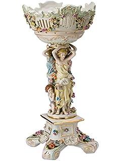 Schale Prunkschale Blume Engel Skulptur Porzellan Antik-Stil 36cm