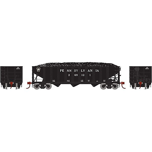 Athearn ATH70306 HO RTR 40' 3-Bay Ribbed Hopper w/Load, PRR - Hopper Bay Ribbed Side 3