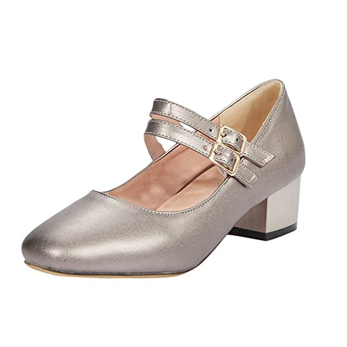 Carolbar Women's Fashion Concise Block Mid Heel Ankle-strap Court Shoes Champagne