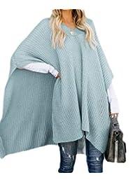 KLJR Mujeres Tejidas con Estilo de Color Puro Poncho Capa V Cuello Pullover suéter
