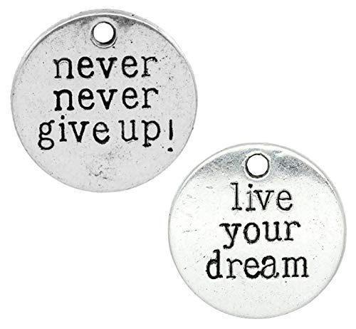Inspirational Message Charm Pendants 60 Pack, 3/4 Inch (Live Your Dream, Never Give Up)]()