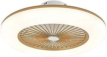 Ventilador de techo con iluminación LED, luz regulable, velocidad del viento regulable, con mando a distancia, 32 W, plafón LED moderno para dormitorio, salón, comedor, gris