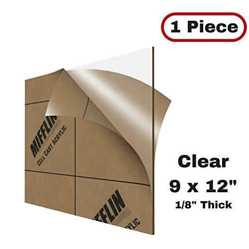 MIFFLIN Cast Acrylic Plexiglass, Transparent Clear (9x12 Inch, 1 Piece) Plastic Sheet, 0.118