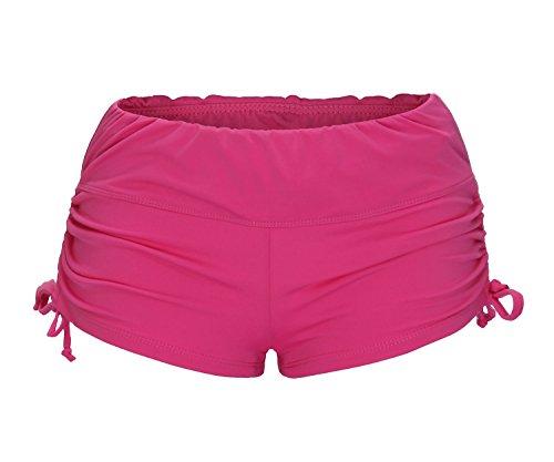 Roses Boyshort (ReliBeauty Women's Adjustable Ties Boy Short Swim Bottoms, Rose Red, Small)