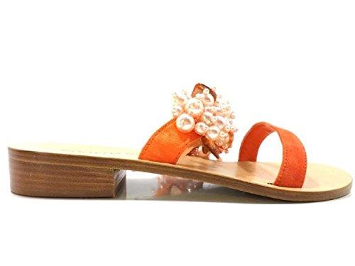 Zapatos Mujer EDDY DANIELE 37 Sandalias Naranja Satén AV394