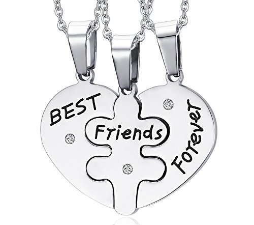 MG Jewelry Stainless Steel Heart Shape Matching 3 Piece Best Friend Necklaces for Teens Girls, 19