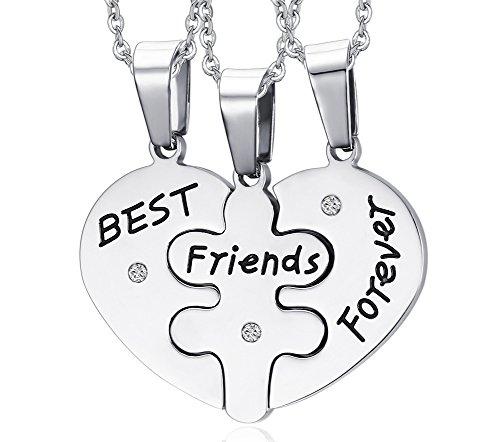 Steel Heart Shape Matching 3 Piece Best Friend Necklaces for Teens Girls, 19