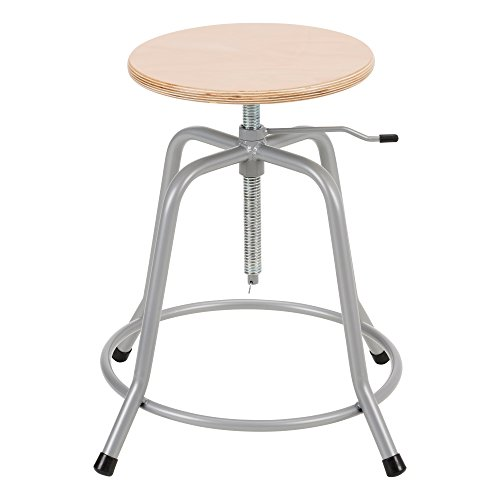 Norwood Commercial Furniture NOR-NOR1031-SO Stool W/Wood Swivel Seat & Locking Stability Pin, Grey