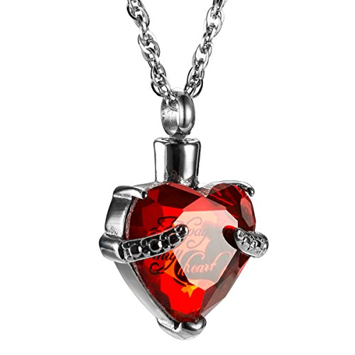 (Always in My Heart with Crystal Glass Cremation Jewelry Urn Necklace Memorial-Ashes Holder Keepsake by AMIST (January))