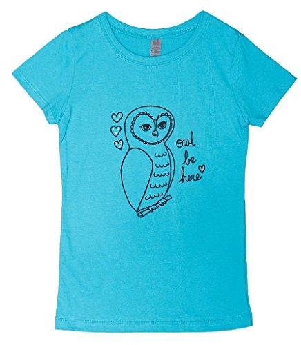 Wonder Girl Owl Be Here Big Girls' Rhinestone Accent T-Shirt L Turquoise