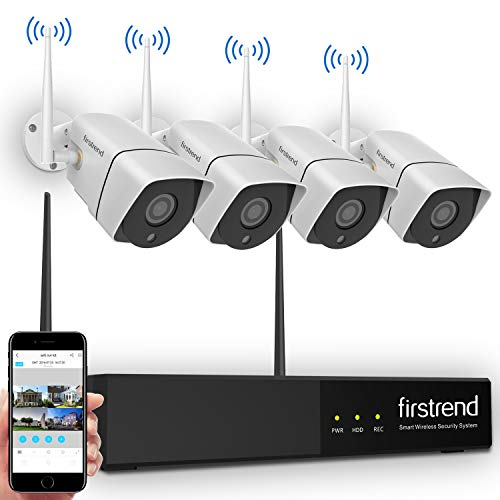 Security Camera System Wireless,Firstrend HD Video Security System with 4PCS 960P 1.3MP IP Security Camera Indoor Outdoor 65FT Night Vision Without Hard Drive