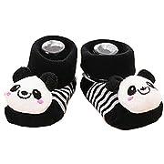 Qingsun Unisex Baby Cute 3D Cartoon Short Sock Slipper Shoe Bootie (Panda)