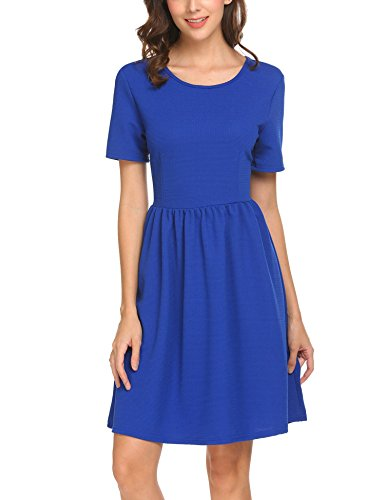 SE MIU Women Cute Short Sleeve Fit and Flare Midi Business Cocktail Party Dress, Royal Blue, XL