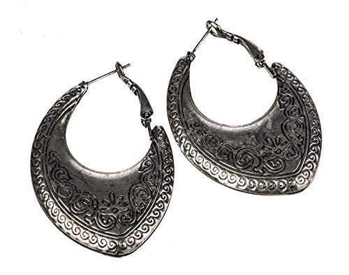 (Shag Wear Woman's Antique Silver Plated Tibetan Tribal Design Earrings)