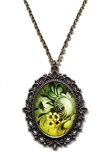 Victorian Vault Art Painting Floral Vintage Flowers Steampunk Pendant Necklace on Chain (Sage Green)